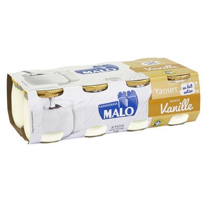 Yaourt au lait entier pasteurisé sucré aromatisé saveur vanille (Malo)