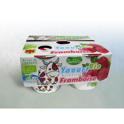 Yaourt au lait entier bio pasteurisé aromatisé framboise 4 x 125g (La tourette)