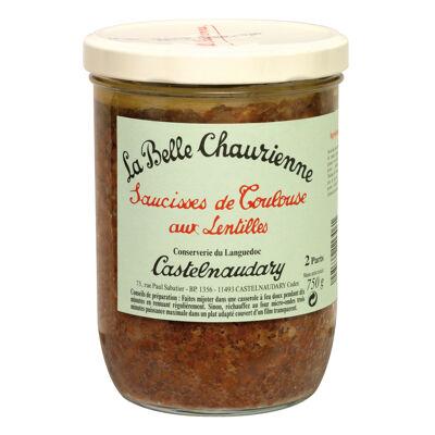 Saucisses de toulouse aux lentilles bocal 750 g (La belle chaurienne)