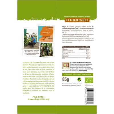 Chips salées banane plantain equateur bio 85g (Ethiquable)