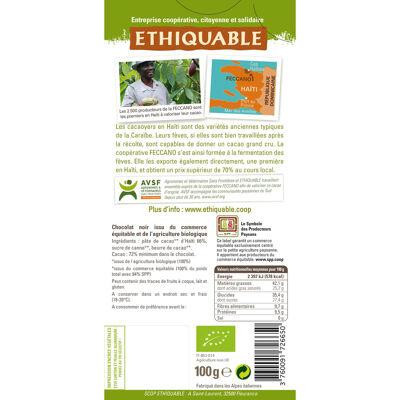 Chocolat noir 72% haiti bio 100g (Ethiquable)