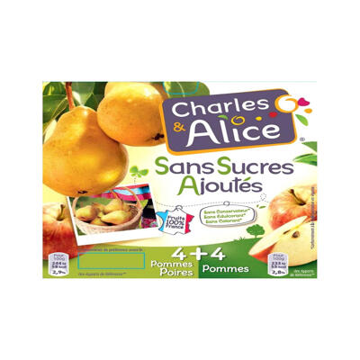 C&a ssa 4pomme & 4p/poire 8x100g (Charles & alice)