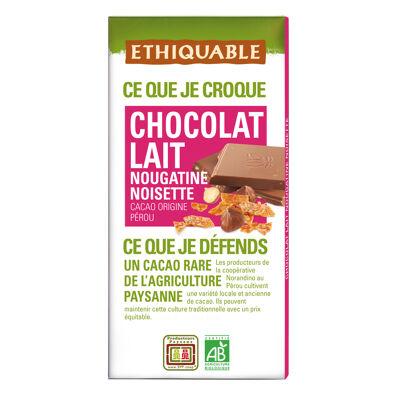 Chocolat lait nougatine noisettes bio 100 g (Ethiquable)