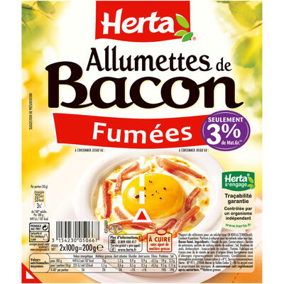 Herta allumettes de bacon 2x100g - 200g (Herta)