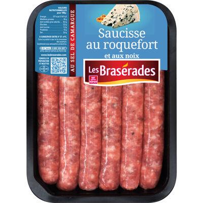 Saucisse roquefort & noix 300g pf (Les brasérades)