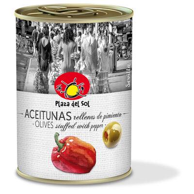 Olives vertes farcies à la pâte de poivron plaza del sol 120g (Plaza del sol)