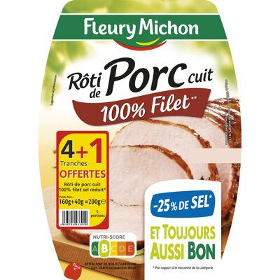 4 tr. rôti de porc cuit, - 25 % de sel + 1 tr. offerte (Fleury michon)
