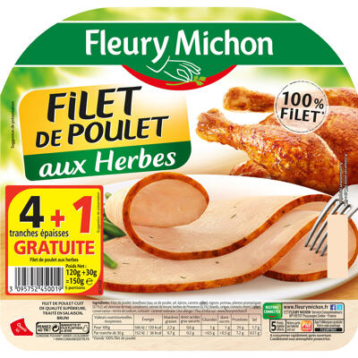 4 tr. epaisses filet de poulet aux herbes + 1 tr. offerte (Fleury michon)