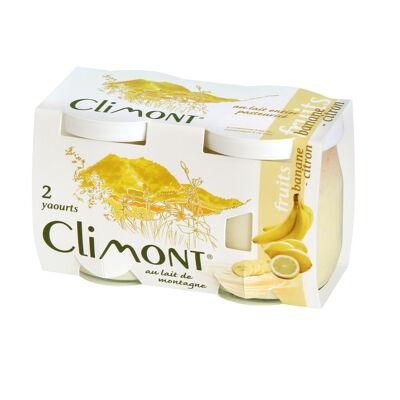 2 x 125gr yaourts au lait de montagne - fruits banane-citron (Climont)