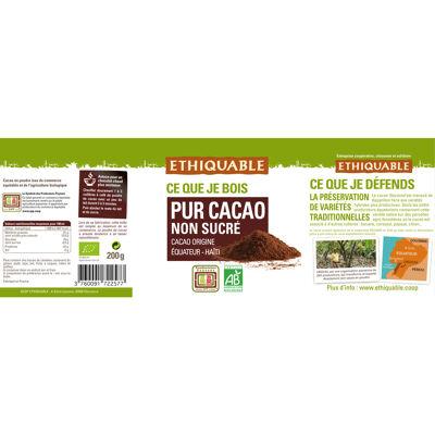 Pur cacao non sucre equateur haïti bio et commerce equitable 200g (Ethiquable)