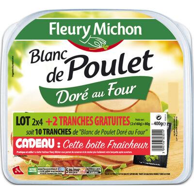 Lot 2(4 tr. blanc de poulet doré au four + 1 tr. offerte) + boîte (Fleury michon)
