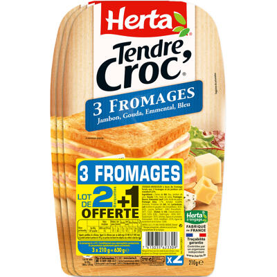 Herta tendre croc' croque-monsieur 3 fromages x2 lot 2+1 offt - 630g (Herta)