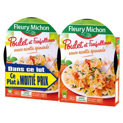 Lot 2 le 2ème à -50% (poulet & farfallines, sauce ricotta epinards) (Fleury michon)