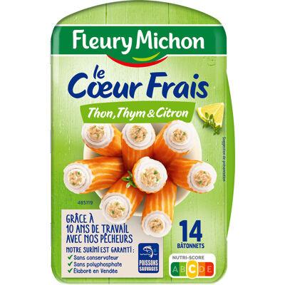 14 bâtonnets surimi coeur frais thon, thym et citron (Fleury michon)