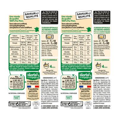 Herta knacki original saucisses 100% pur porc x10 lot 2 (Herta)