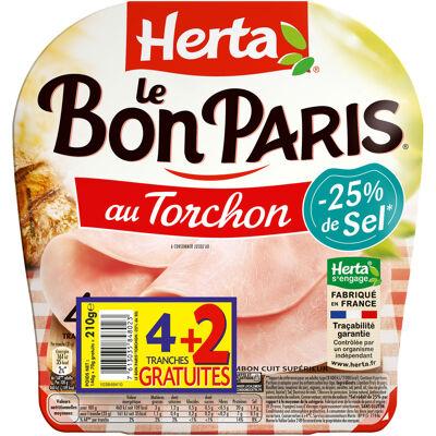 Herta le bon paris jambon au torchon -25% de sel x4+2t grt (Herta)