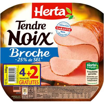 Herta tendre noix jambon broche -25% sel x4+2t gratuites - 240g (Herta)