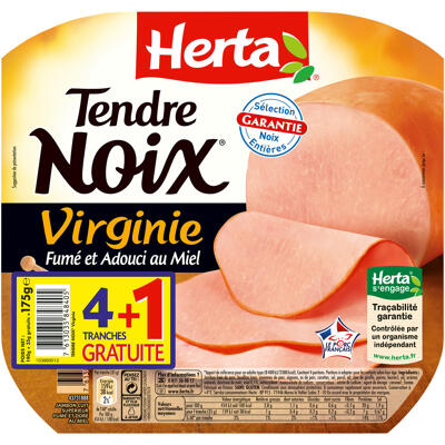 Herta tendre noix jambon virginie fumé au miel x4+1t gratuite - 175g (Herta)