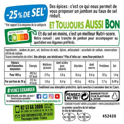 10 tr. le jambon de paris cuit s.c., - 25 % de sel (Fleury michon)