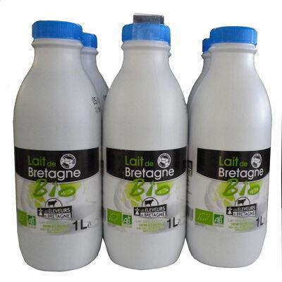 Lait demi-écrémé issu de l'agriculture biologique stérilisé uht les eleveurs de bretagne bouteille 6x1 litre (Les eleveurs de bretagne)
