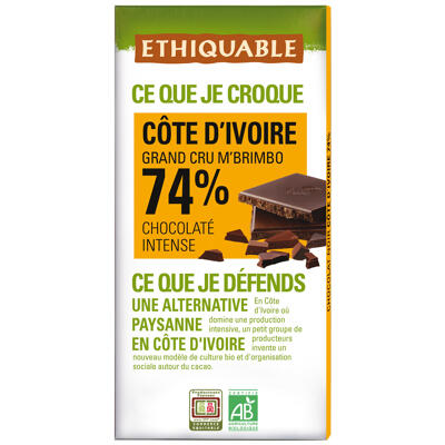 Chocolat noir 74% côte d'ivoire bio 100g (Ethiquable)
