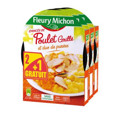 Lot 2+1 gratuit (emincés de poulet grillé et duo de purées) (Fleury michon)