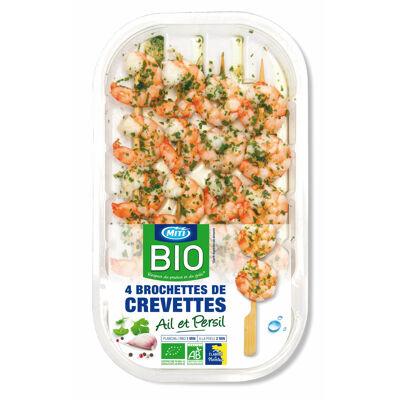 Brochettes de crevettes bio sauce ail et persil bio (Miti)
