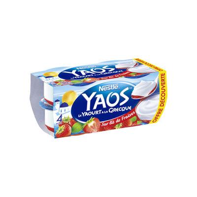 Yaos yaourt a la grecque sur lit de fraises 4x125g offre decouverte (Yaos)