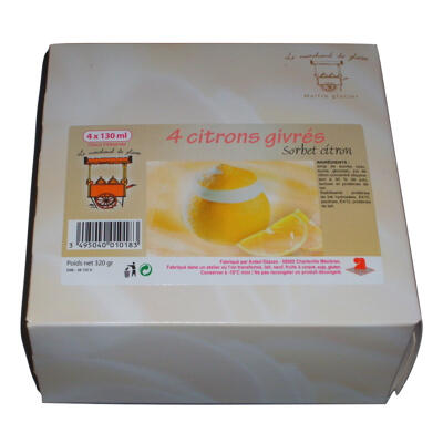 4 x 120 ml citrons givrés (Le marchand de glaces)