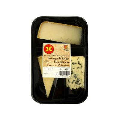 Plateau 3 fromages brebis / bleu crémeux / cantal entre deux 190g (Prix ronds)