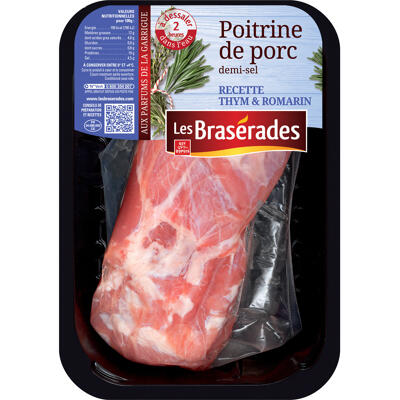 Poitrine de porc demi-sel 500g pv (Les brasérades)