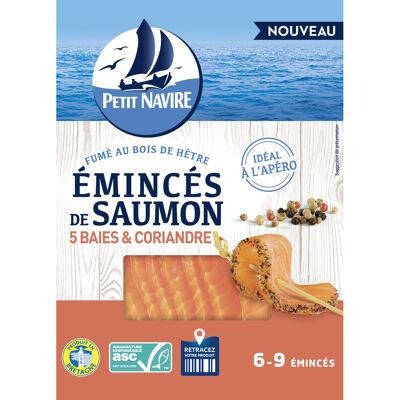Petit navire emincés de saumon atlantique, élevé en norvège, fumé 5 baies et coriandre 90g (Petit navire)