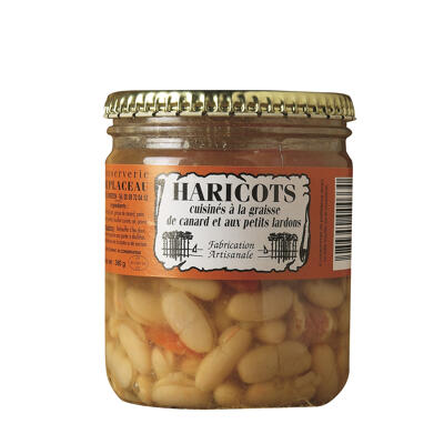 Haricots cuisinés à la graisse de canard et aux petits lardons verrine 380grs (Conserverie duplaceau)
