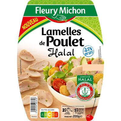 Lamelles de poulet nature, - 25 % de sel - halal (Fleury michon)