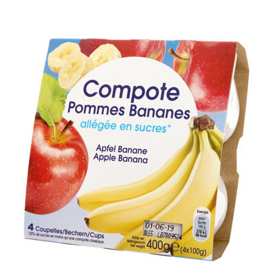Compote pomme/banane all. coupelle 4x100g (Ppx)