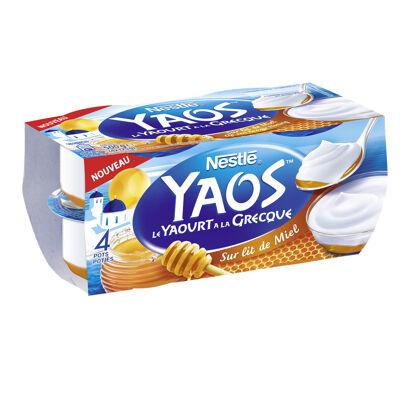 Yaos yaourt a la grecque nature sur lit de miel 4x125g (Yaos)