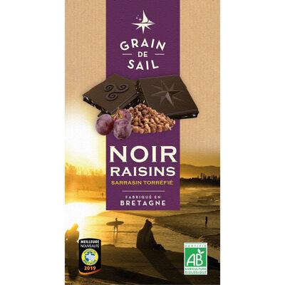 Tablette de chocolat noir raisins sarrasin torrefie - 100g - fr bio 13 - grain de sail (Grain de sail)