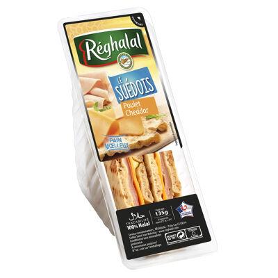 Réghalal sandwich suédois poulet cheddar 135g (Réghalal)
