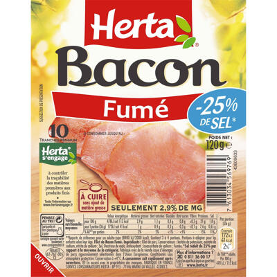 Herta bacon fumé -25%sel x10 -120g (Herta)