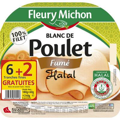 6 tr. fines blanc de poulet fume - halal + 2 tr. gratuites (Fleury michon)