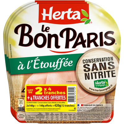 Herta jambon cons. sans nitrite etouffée x4- lot 2+1 ofr (Herta)