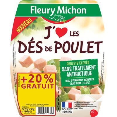 Des de poulet j'aime 2 x 75 g, bbc + 20 % gratuits (Fleury michon)