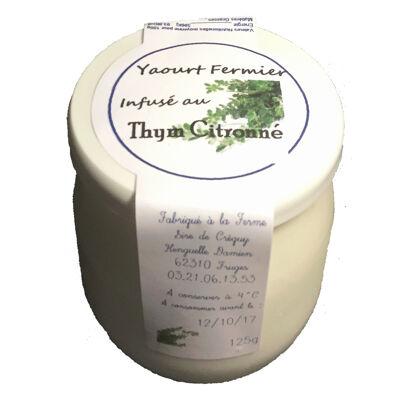 Yaourt fermier au lait de vache infusé au thym citronné frais (Sire de créquy)