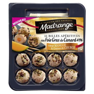 Billes apéritives au foie gras de canard 41% coeur de mangue & graines de courge - 16 billes - 75g (Madrange)