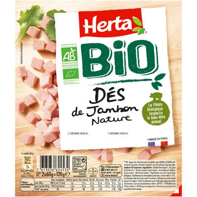 Herta bio dés de jambon nature barquette sécable -120g (Herta)