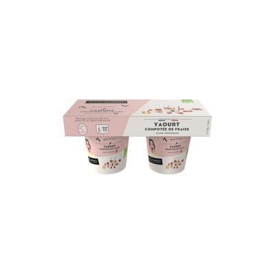 Duo yaourt compotee de fraise bio 2x100 ml (Maison alperel)