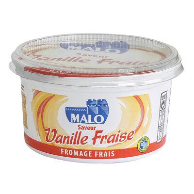 Fromage frais 7% de matière grasse sur produit fini sucré à la fraise aromatisé saveur vanille (Malo)