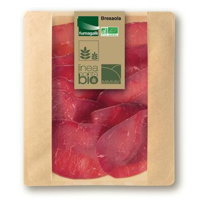 Bresaola biologique. viande de boeuf traitée en salaison et séchée (Fumagalli)