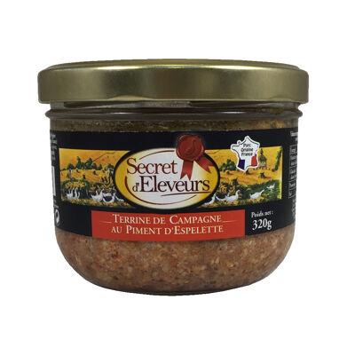 Terrine de campagne au piment d'espelette- verrine 180g- origine france - secret d'eleveurs (Secret d'éleveurs)