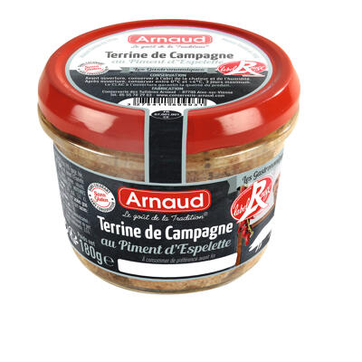Terrine de campagne label rouge au piment d'espelette 180g (Arnaud)
